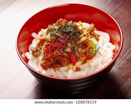 udon noodles with beef tendon stew.Japanese cuisine