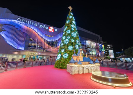 UDON THANI - 11 November 2015 : The Christmas tree in front of Central World Plaza, for Merry Christmas & Happy New Year 2016 on November 11, 2015 in Udon thani, Thailand.