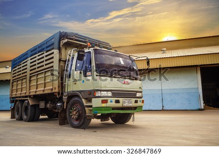 Udonthani - Thailand, Aug 13, 2015; dump truck Private Hino Cargo truck. Photo at rice warehouse in Udonthani Province Thailand  - stock photo