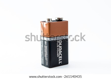 UFA-BASHKORTOSAN - RUSSIA 10th March 2015 - A 9v Duracell Battery in the traditional livery of the companies flagship colours - stock photo