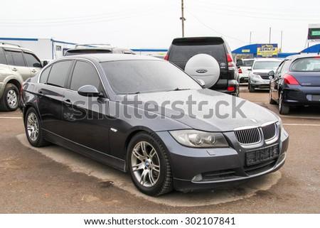 UFA, RUSSIA - APRIL 19, 2012: Motor car BMW E90 3-series at the used cars trade center. - stock photo