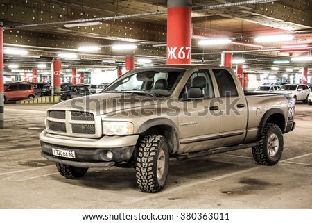 UFA, RUSSIA - FEBRUARY 7, 2016: Motor car Dodge Ram 1500 in the underground parking. - stock photo