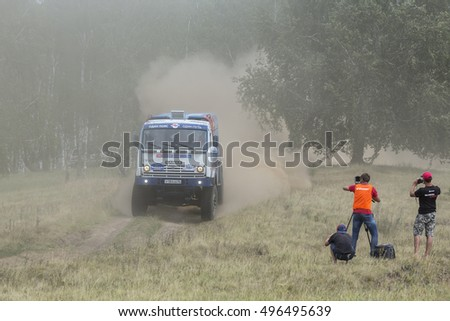 UFA, RUSSIA-JULY 11, 2016: Sports truck gets over the difficult part of the route during the Silk Way rally Moscow-Beijing Dakar series on a dirt road