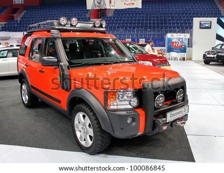 "UFA, RUSSIA - JUNE 10: English motor car Land Rover Discovery on display at the annual Motor show ""Autosalon"" on June 10, 2009 in Ufa, Bashkortostan, Russia. - stock photo"