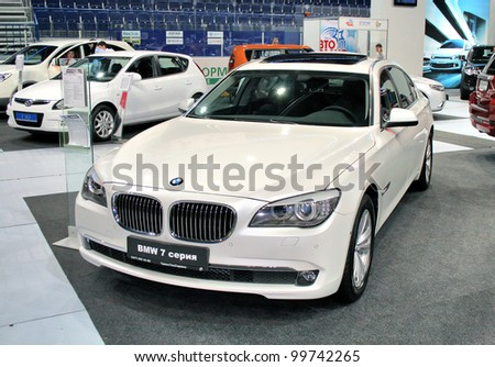 "UFA, RUSSIA - JUNE 10: German motor car BMW 7-series (F01) on display at the annual Motor show ""Autosalon"" on June 10, 2009 in Ufa, Bashkortostan, Russia. - stock photo"