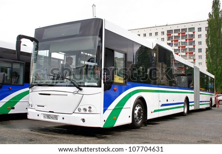 UFA, RUSSIA - MAY 27: Articulated city bus NEFAZ 52995 (VDL Transit) exhibited at the annual Motor show Autosalon on May 27, 2010 in Ufa, Bashkortostan, Russia. - stock photo