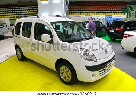 "UFA, RUSSIA - MAY 11: Panel van Renault Kangoo exhibited at the annual Motor show ""Autosalon"" on May 11, 2011 in Ufa, Bashkortostan, Russia. - stock photo"