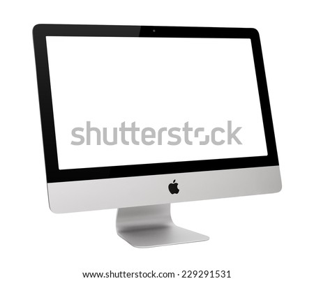 UFA, RUSSIA - MAY 7 , 2014: Photo of new iMac, With OS X Yosemite. iMac - monoblock series of personal computers, created by Apple Inc. - stock photo