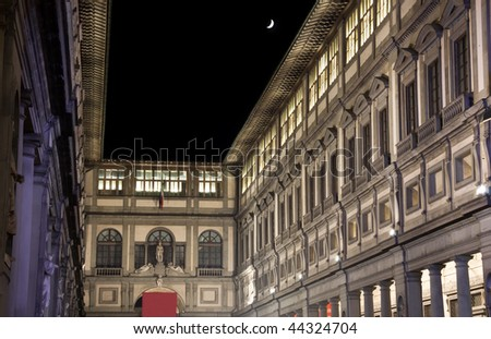 Uffizi Museum Gallery at Night with a pale moon in Florence Italy