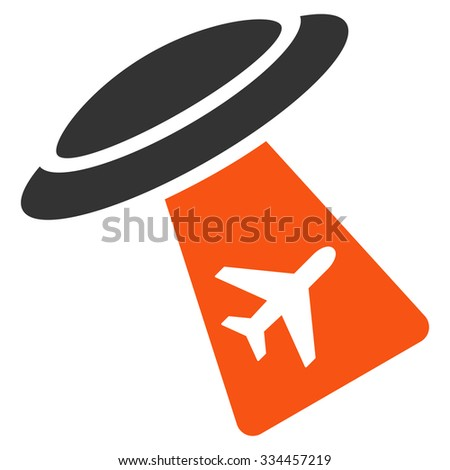 Ufo Abduct Plane glyph icon. Style is flat symbol, rounded angles, white background. - stock photo
