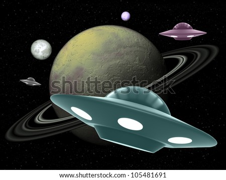 UFO against the background of the planets