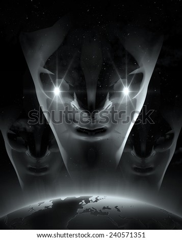 UFO and alien in dark night - stock photo