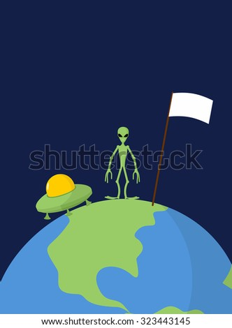 UFO and alien with white flag stands on Earth.   - stock photo