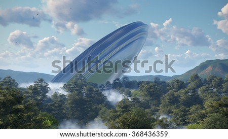 UFO crash into a forest - stock photo