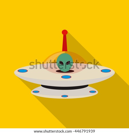 UFO icon in flat style with long shadow. Space symbol - stock photo