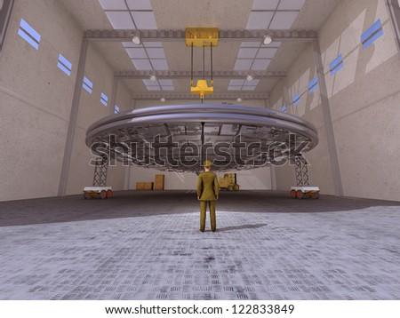UFO in a hangar - stock photo