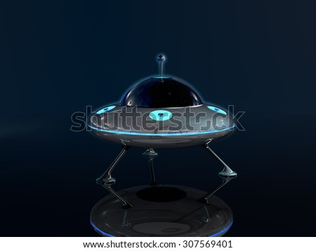 UFO in dark space background - stock photo