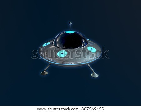 UFO in space on stars background - stock photo