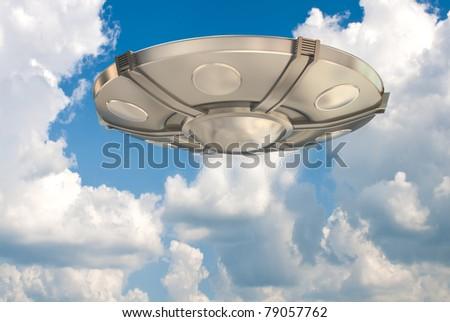 Ufo in the sky - stock photo