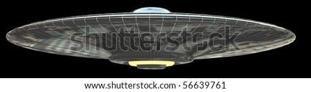 ufo - isolated on black - stock photo