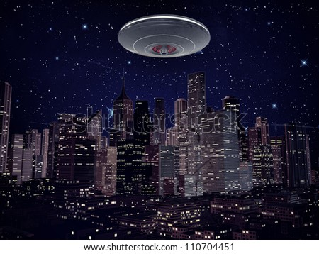 ufo metal spaceship over the city by night