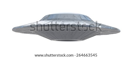 ufo on a white background - stock photo