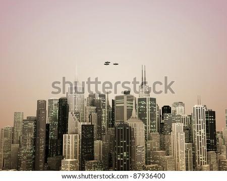 ufo over the city - stock photo