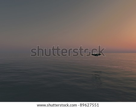 ufo over the sea - stock photo