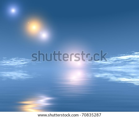 UFO over the sea surface of the ocean - stock photo