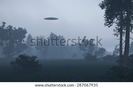 Ufo over trees - stock photo