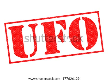 UFO red Rubber Stamp over a white background. - stock photo