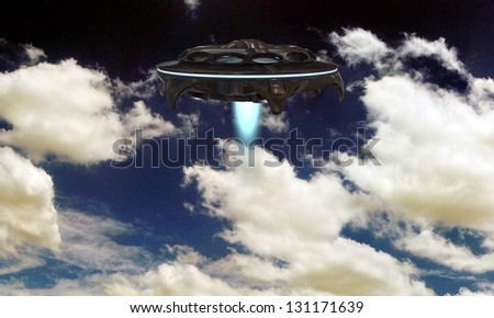 ufo spaceship flying in a cloudy sky - stock photo