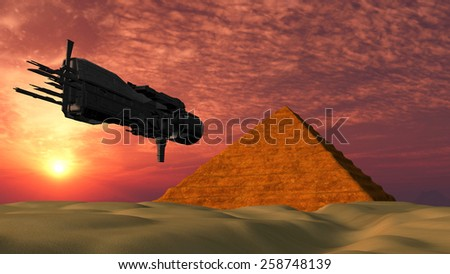 UFO Spaceship Flying towards a Pyramid in the desert - Fantasy Alien Illustrations - stock photo