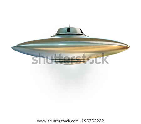 ufo spaceship isolated on white background - stock photo