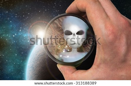 Ufologist scientist found extraterrestrial life and alien civilization on extrasolar planet with telescope. Digital illustration. - stock photo