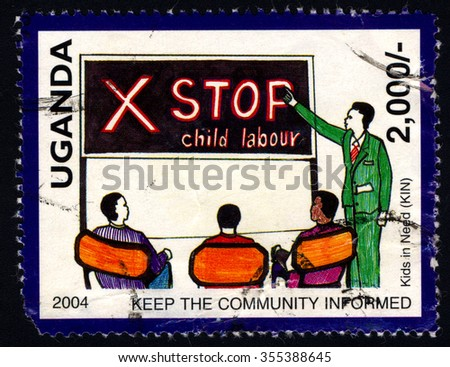 UGANDA - CIRCA 2004: A stamp printed in Uganda dedicated to Campaign Against Child Labour â?? Stop Child Labour, circa 2004
