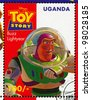 UGANDA - CIRCA 1997: stamp printed by Uganda, shows Toy Story, Buzz Lightyear, circa 1997. - stock photo