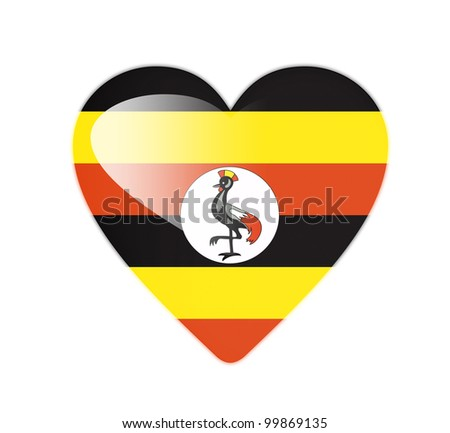 Uganda 3D heart shaped flag