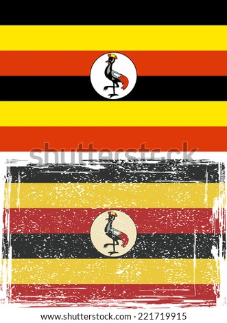 Uganda grunge flag. Raster version