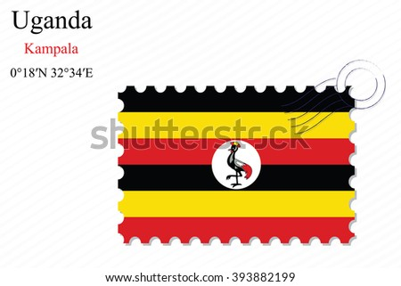uganda stamp design over stripy background, abstract art illustration, image contains transparency