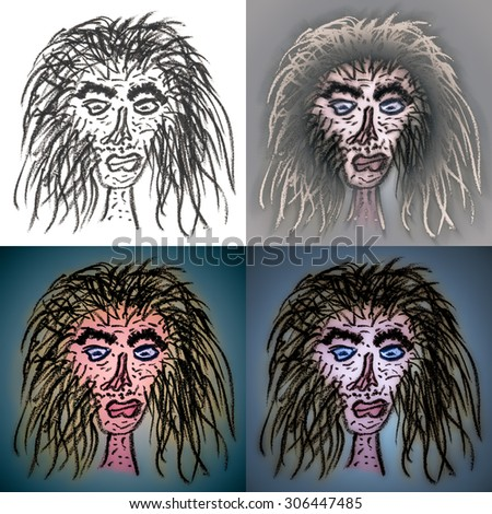 Ugly Baba Yaga faces, hand-drawn illustration of an old Slav goddess of death and regeneration. A supernatural being and witch who appears as an ugly looking old woman. - stock photo