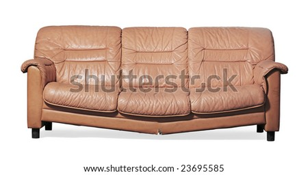 Ugly, broken and dirty couch on white - stock photo