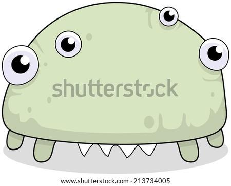 Ugly bug eyed monster virus alien cartoon character illustration.  - stock photo