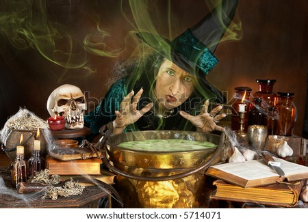 Ugly old halloween witch casting a spell over her cauldron - stock photo