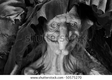 ugly scary witch - stock photo