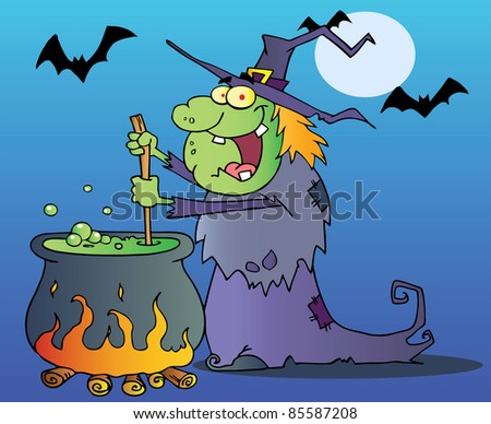 Ugly Witch Preparing A Potion - stock photo