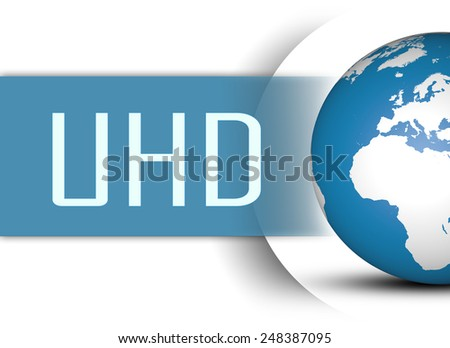 UHD - User Help Desk concept with globe on white background