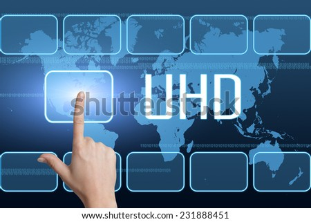 UHD - User Help Desk concept with interface and world map on blue background