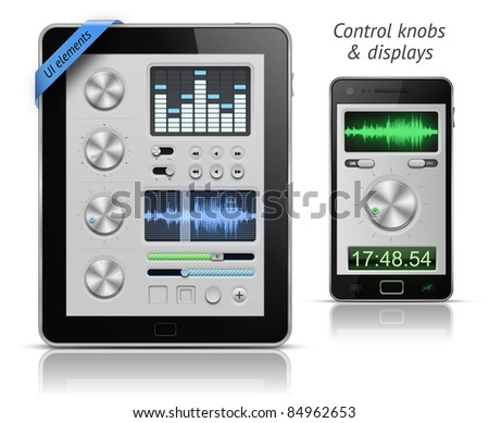 UI elements for tablets and smartphones. Control knobs and displays. Raster version - stock photo