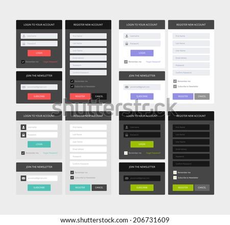 UI elements, 4 sets of login, newsletter and registration form, flat design - stock photo
